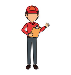 delivery worker with clipboard avatar character vector image