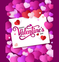 design poster with lettering happy valentine s day vector image