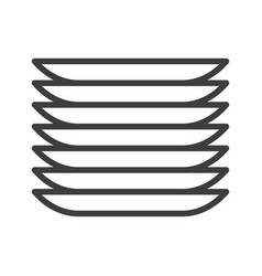 Dishes plates simple food icon in trendy line vector