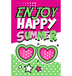 Enjoy happy summer banner bright retro pop art vector