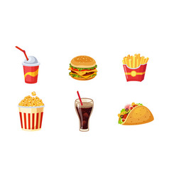 fast food dishes set french fries hamburger vector image