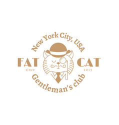 Fat cat label vector
