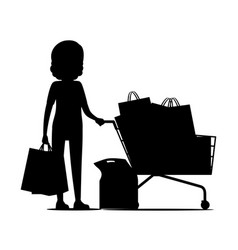 Female silhouette with packages near shopping cart vector