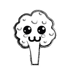 Figure kawaii happy broccoli vegetable icon vector