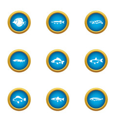 Fish out icons set flat style vector