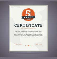 Five stars rating certificate vector