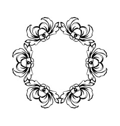 Floral vintage circle frame isolated vector