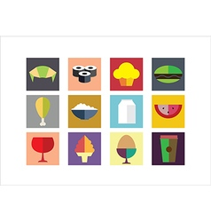 Food Color Flat Icons vector image