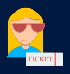 girl promo with ticket booklets vector image