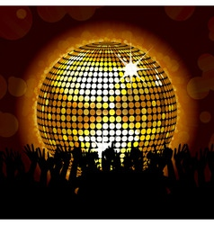 Glowing disco ball and crowd vector