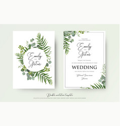 Greenery floral wedding invitation card design vector
