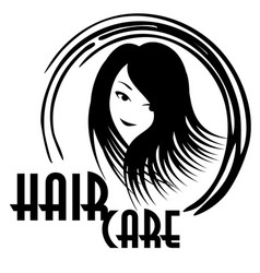 Hair care logo with smiling woman face vector