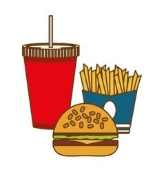 Hamburger french fries and soda fast food vector
