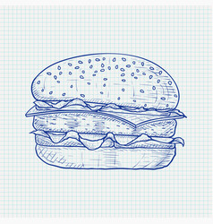 hamburger hand drawn sketch on lined paper vector image