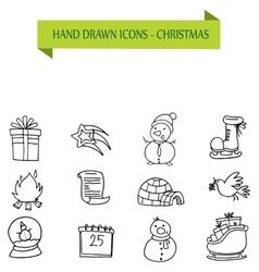 Hand drawn collection Christmas icons vector