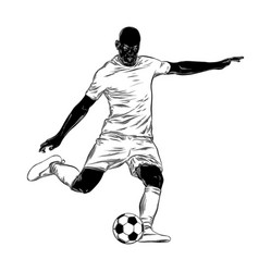 Hand drawn sketch of footballer in black isolated vector