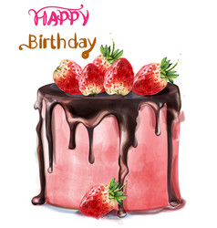 Happy birthday delicious strawberry cake vector