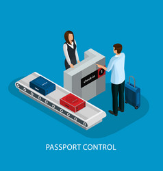 isometric customs control in airport concept vector image