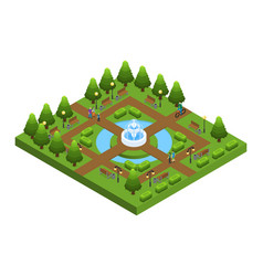 Isometric green city park concept vector