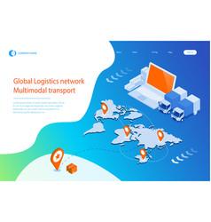 isometric logistics and delivery infographics vector image