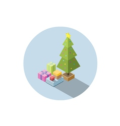 isometric of christmas tree with gifts vector image