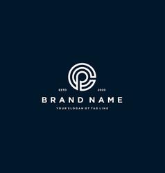 Letter cp logo design vector