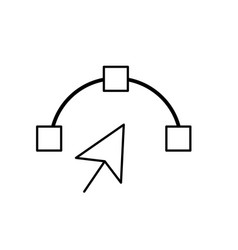 line arrow cursor with nodes design image vector image