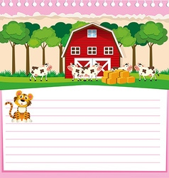 Line paper design with barn and cows vector image