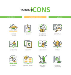 Literary genres - line design style icons set vector