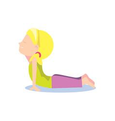 Little girl doing yoga asana vector
