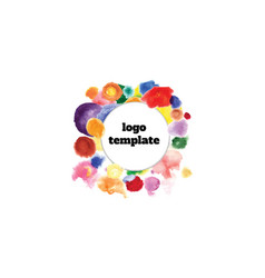logo template in the center of colorful circles vector image