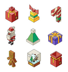 lowpoly christmas polygonal outline new year vector image