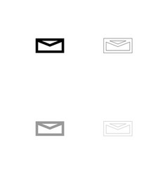 mail black and grey set icon vector image
