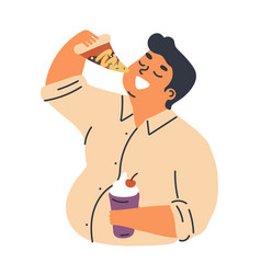 male obesity problem concept flat vector image