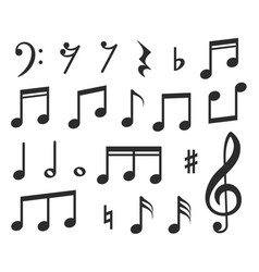 music notes musical melody black note icons vector image