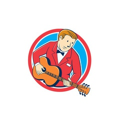 Musician Guitarist Playing Guitar Circle Cartoon vector image