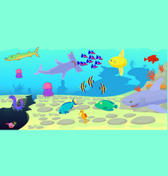 Ocean fish scene horizontal banner cartoon style vector