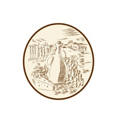 Olive Oil Jar Cheese Tuscan Countryside Etching vector