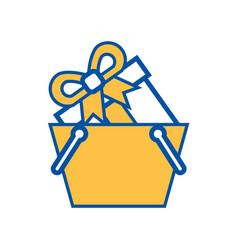 Onilne shopping basket gift box commerce vector