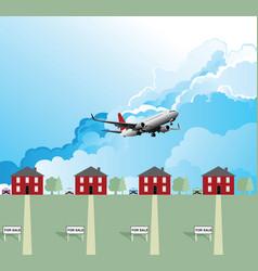 passenger plane over housing vector image