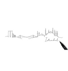pen line silhouette istanbul vector image