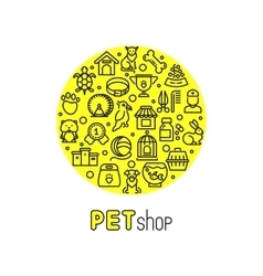 Pet shop and vet clinic logo with line vector