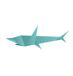 polygonal origami shark isolated vector image