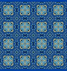 Portuguese azulejo ceramic tile pattern vector
