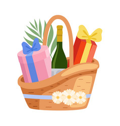 present basket full gifts and alcohol bottle vector image