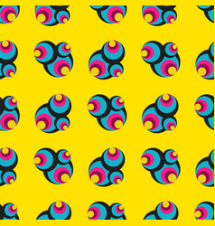 psychedelic colored circles on a yellow vector image