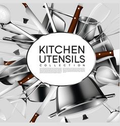 Realistic light kitchen utensil poster vector