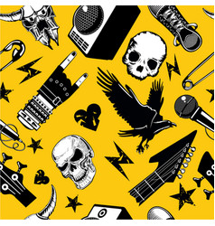 Rock and roll seamless pattern music vector