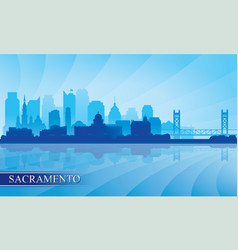 Sacramento city skyline silhouette background vector