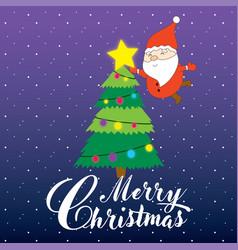 Santa claus puts a star on christmas tree vector